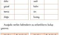 İlkokul 1. Sınıf Zıt Anlam Eş Anlam Etkinliği Kelime Çalışması