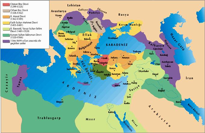 osmanlı devleti fethettiği yerler haritası