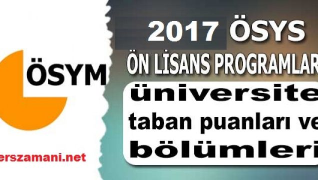 Üniversite Taban Puanları ve Bölümleri Başarı Sıralaması 2018 2017 YKS TYT